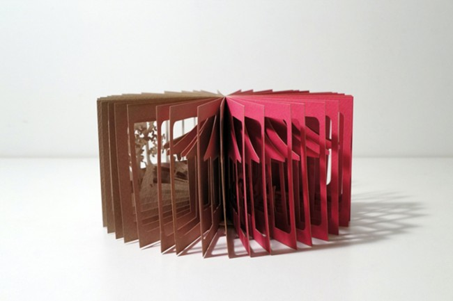 Stories Cut Into 360 Paper Books by Yusuke Oono 2 650x433 Stories Cut Into 360° Paper Books by Yusuke Oono