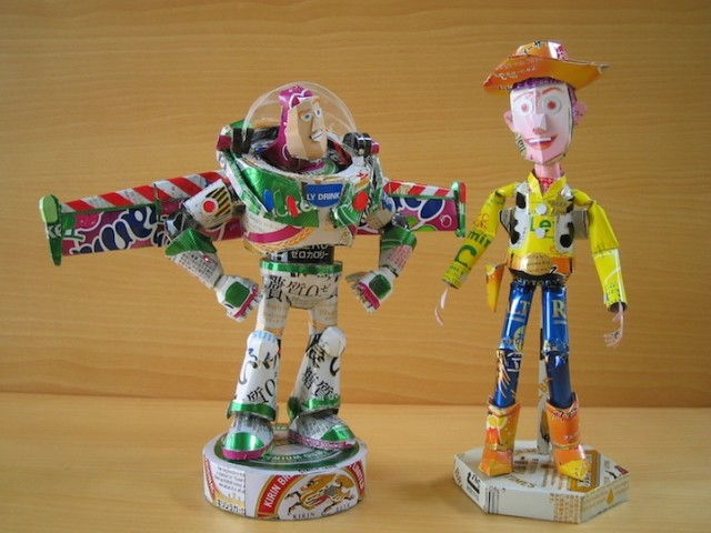 Sculptures Made from Beverage Cans by Makaon