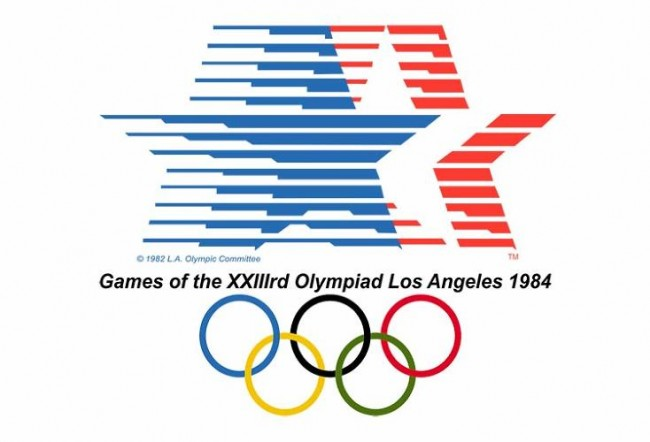 1984 los angeles summer olympics logo 650x442 A Complete 100 Years of History of Olympic Logo Designs