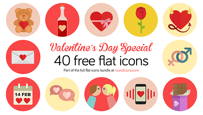 Valentine day free flat icons set 1 40 Free Valentines Day Flat Icons