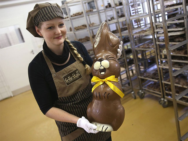Chocolate Easter Bunny Production At Confiserie Felicitas In Germany