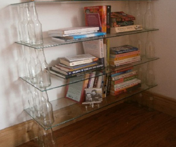 Life Tips42B 001a Stack Empty Bottles Or Jars To Create A Bookshelf