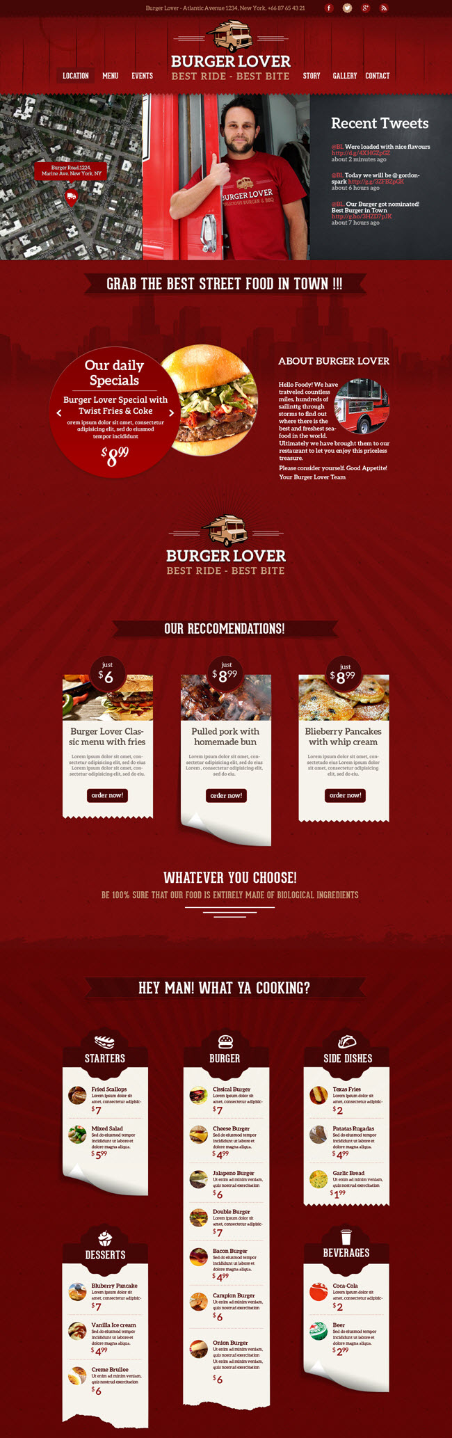 food truck screenshot Best Restaurant & Cafe WordPress Themes