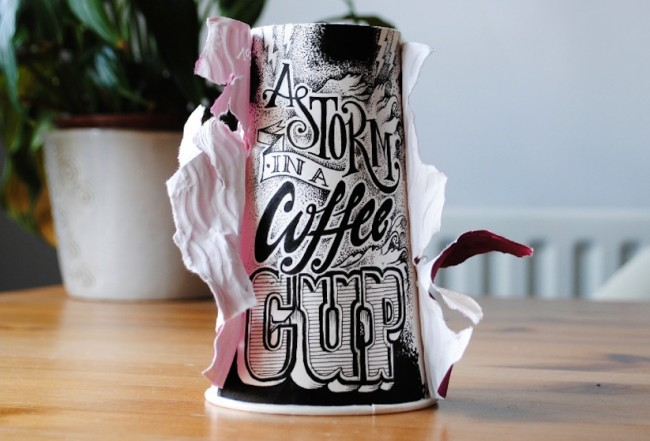Coffee Time Typographic Art on Discarded Coffee Cups by Rob Draper 2014 01 650x441 Coffee Time   Typographic Art On Discarded Coffee Cups by Rob Draper