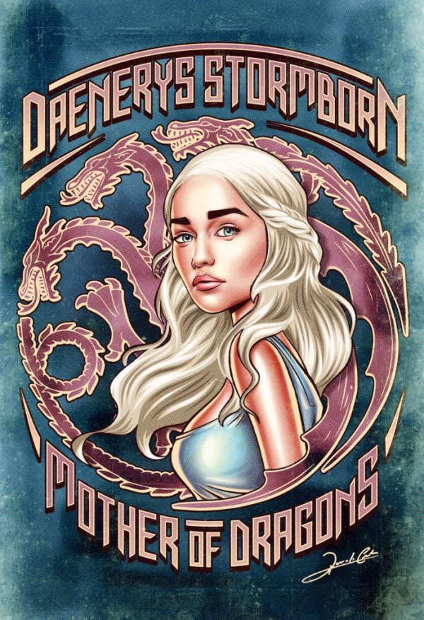 Iconic Series and Movie Heroes daenerys game of thrones 600x877 Pin Up Series and Movie Heroes