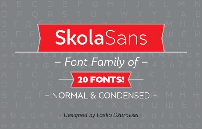SkolaSans free font 01 650x416 SkolaSans : Free Font Family
