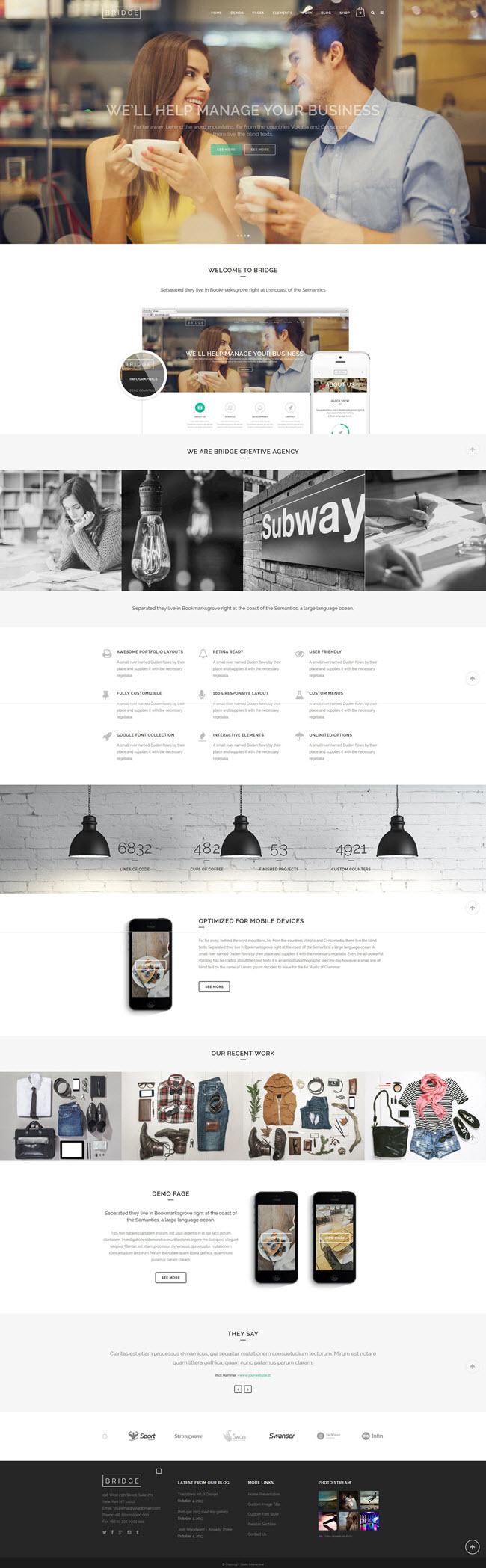 bridge screenshot Best Business WordPress Themes for June