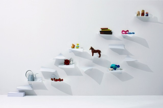 1390232589 1 640x426 Blow Wall Shelves Look Like Floating Paper