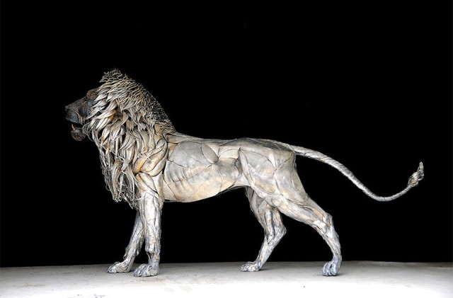 1390242982 4 640x421 Metal Lion Sculpture Made From 4,000 Scraps by Selcuk Yilmaz