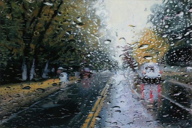 1390244294 1 640x427 Incredibly Realistic Rainy Day Paintings by Karen Woods