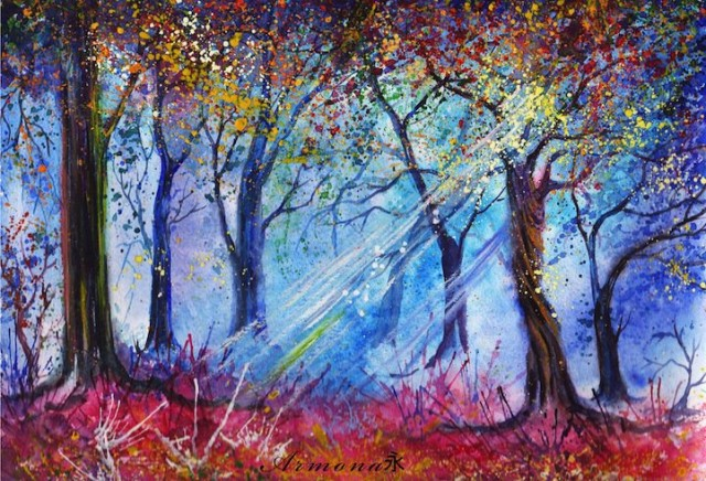 1393867939 5 640x436 Forest Watercolor Landscapes by Anna Armona