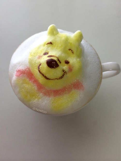 Colorful Caffe Latte Art Winnie the Pooh Colorful Caffe Latte Art