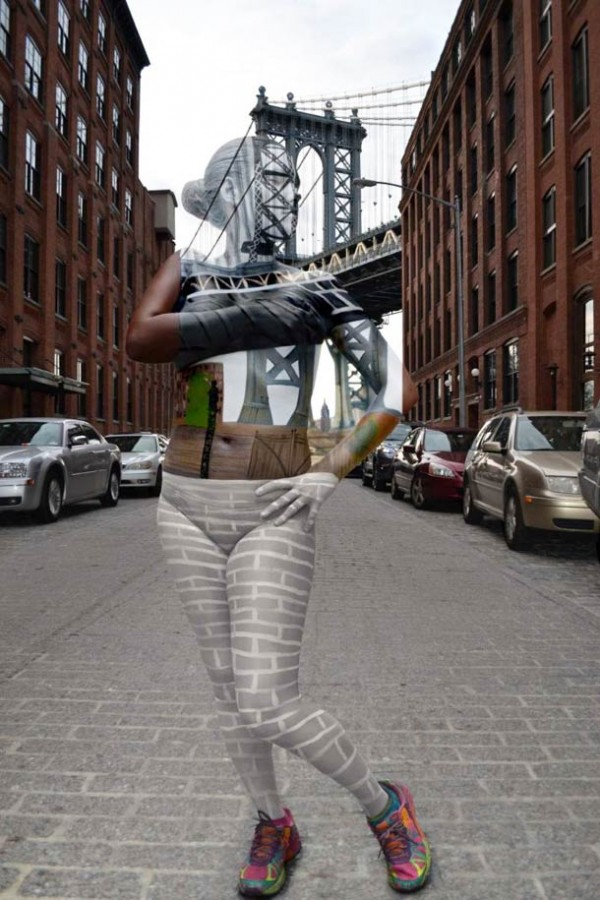 Tina Merry New York Body Painting 01 Body Painted Models blend into famous NYC Landmarks by Trina Merry