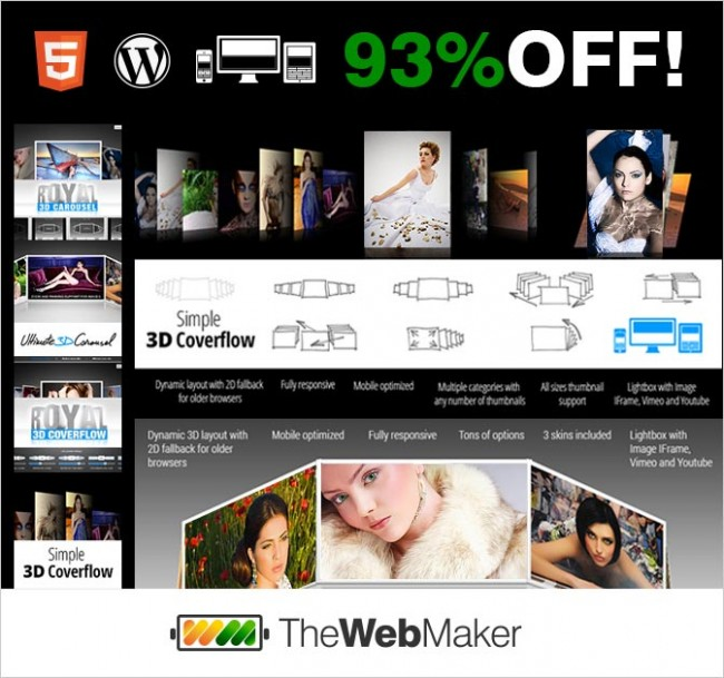 md1 650x609 Bundle of 8 3D Professional Multi Media WP and HTML5 Galleries   $37!