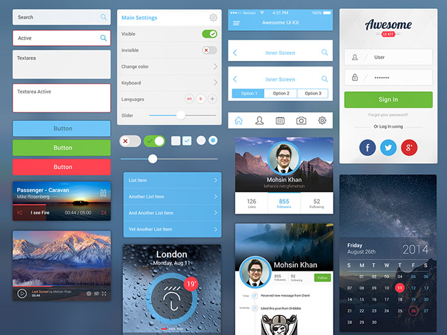 mobile ui kit  15 Free New UI Kits for August 2014