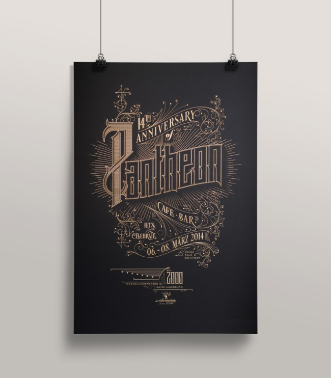 pantheon poster1 650x742 Pantheon Anniversary   A laser etched poster