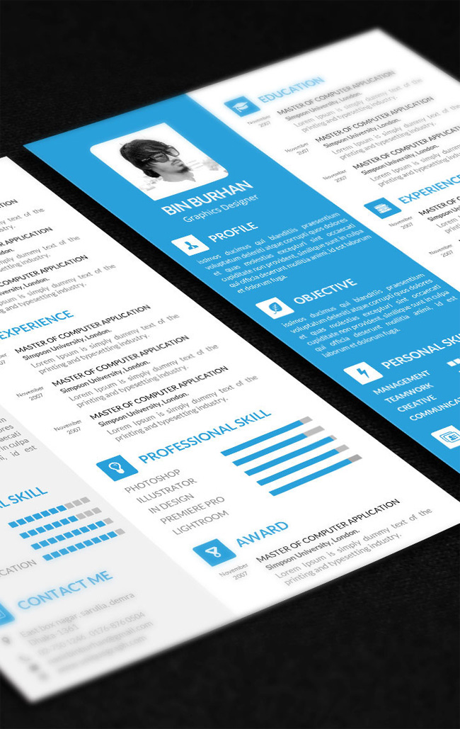 resume 01 Free Flat Resume PSD Template with CV