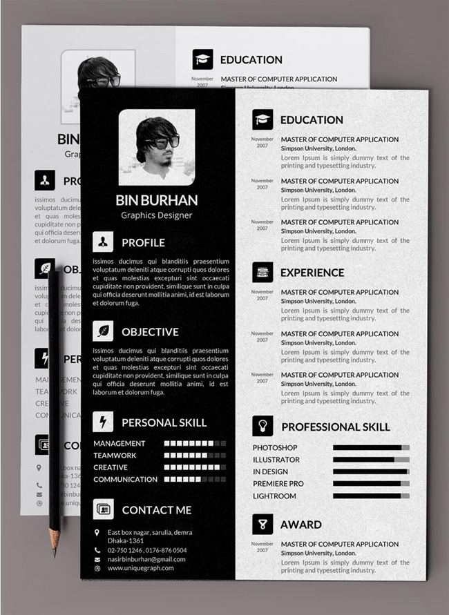 free template psd resume