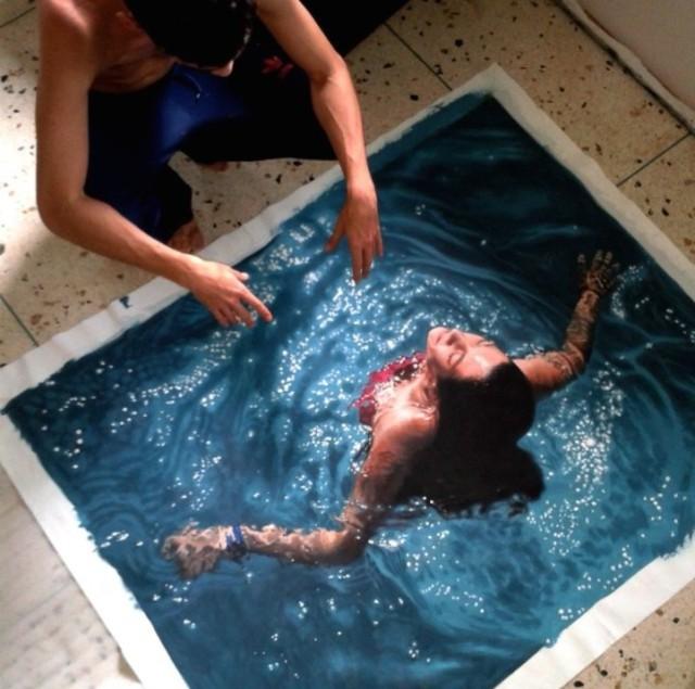 Realistic Swimmers in Gustavo Silva Nunezs Paintings