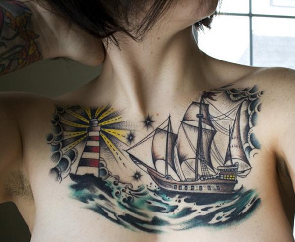 29 Boat chest Tattoo 40 Boat Tattoo Designs