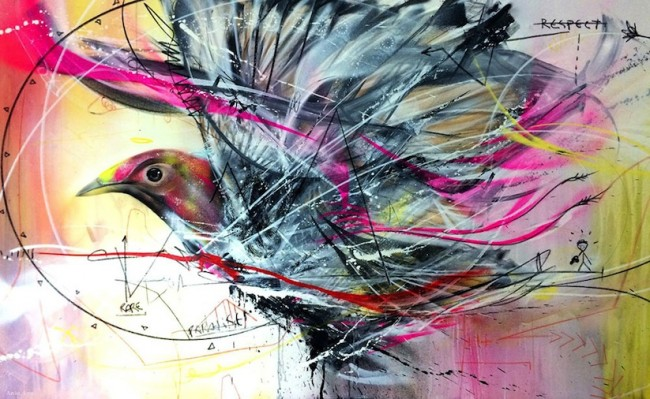 New Spray Painted Birds by Artist L7m 2014 01 650x399 New Spray Painted Birds by Brazilian Artist L7m