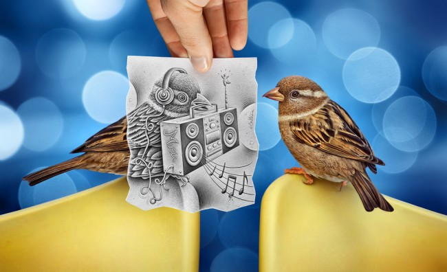 a bird with some electronic power 650x396 Amazingly Creative Drawing Vs Photography by Ben Heine