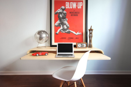 float wall desk minimalistic floating desk 01 450x300 Float Wall Desk: Minimalistic Floating Desk
