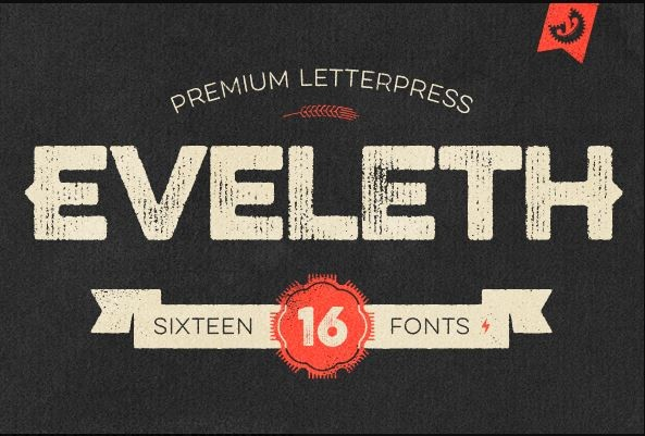 md7 e1411036174238 Eveleth Letterpress Font Family  (all 16 fonts)   only $9!