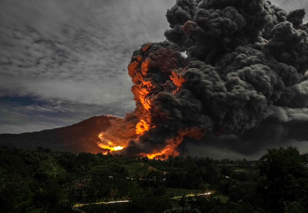 1137 Mount Sinabung Volcano Erupts in Indonesia