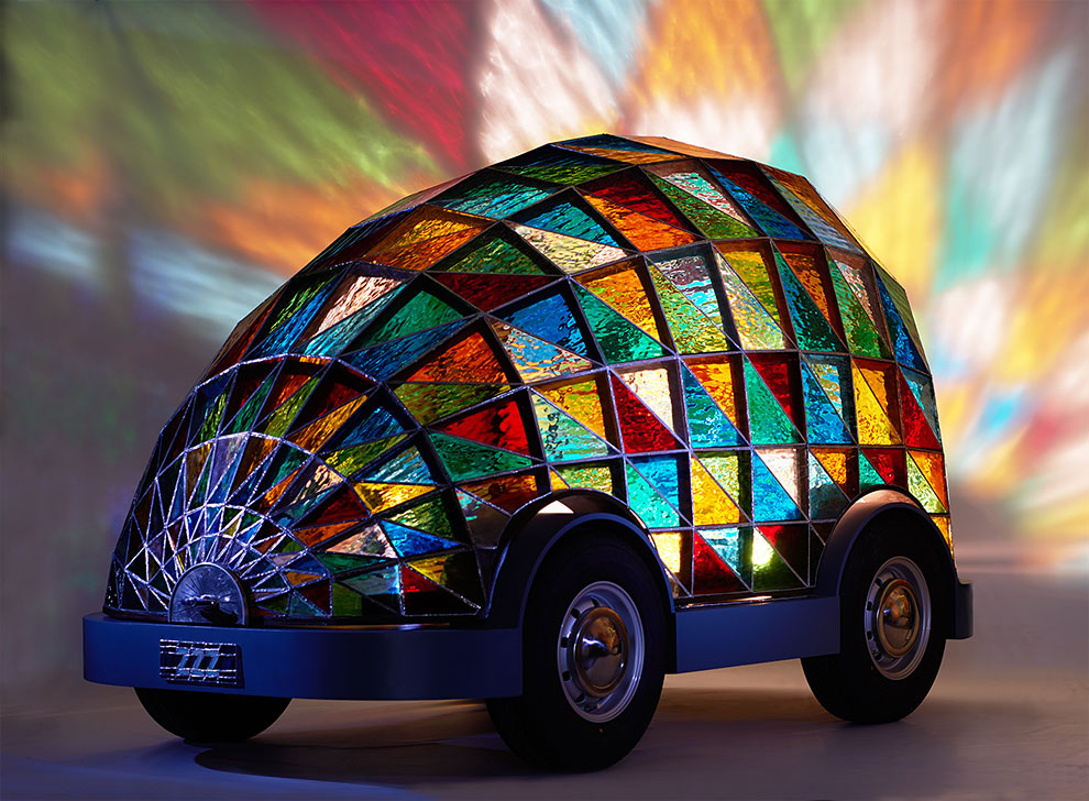 114 Stained Glass Driverless Sleeper Car of the Future