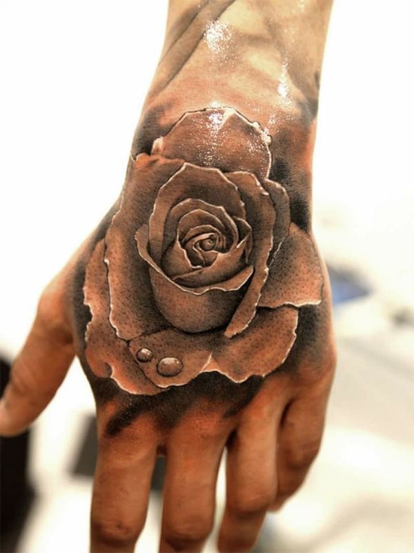 13 3D Rose on Hand 45+ Eye Catching Tattoos on Hand