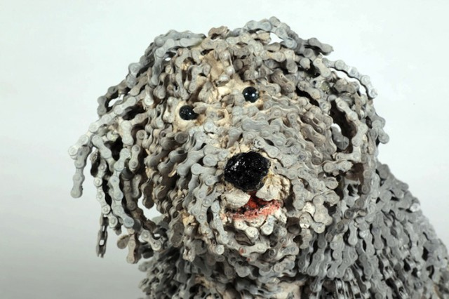 Dog Sculptures Made of Bicycle Parts