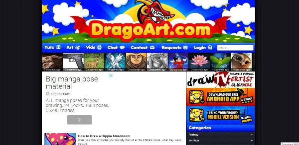 2. DragoArt 10 Webites for Learning How to Draw