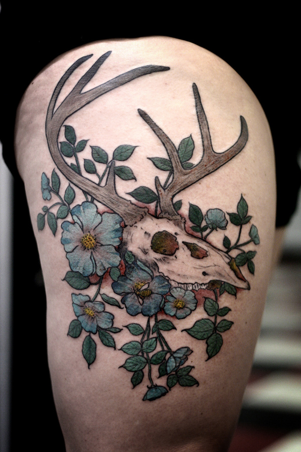 27 Stag Skull and Flower Tattoo 1 45 Inspiring Deer Tattoo Designs