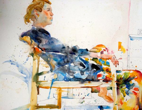 Charles Reid 5 Watercolor Figurative Paintings by Charles Reid