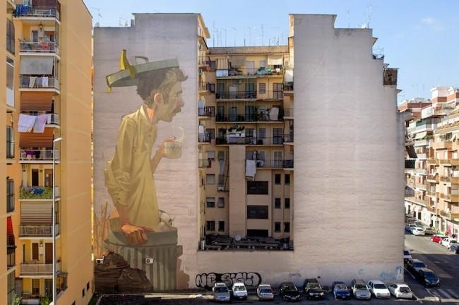 Etam Cru Rome Varsi 01 650x432 Streetart: New Mural by Etam Cruin Rome // Italy