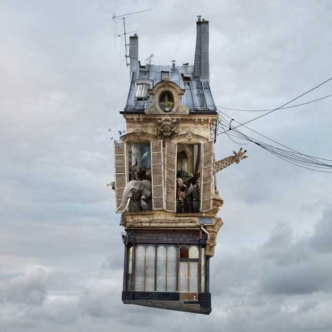 Laurent Chehere Flying Houses by Laurent Chehere