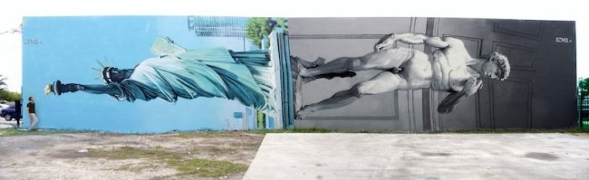 New Mural by OZMO ft Lady Liberty and Michelangelo David in Miami 2014 01 650x199 New Mural by OZMO ft. Lady Liberty and Michelangelo's David in Miami