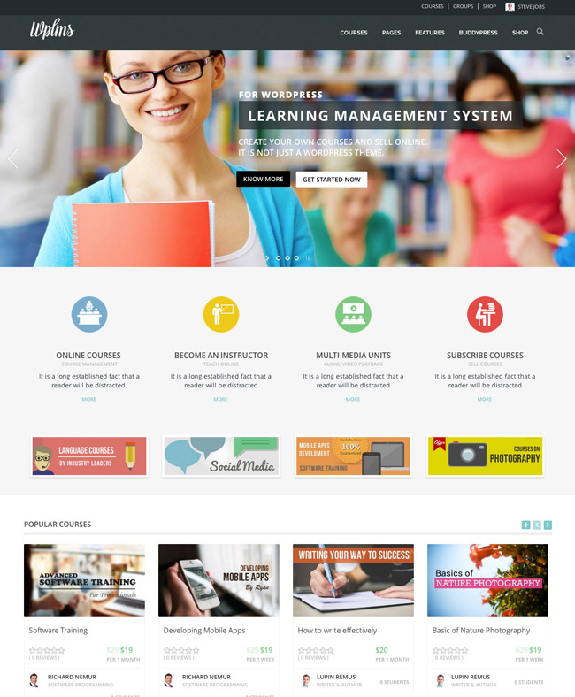 learning management wordpress theme 06 8 Powerful Learning Management WordPress Themes