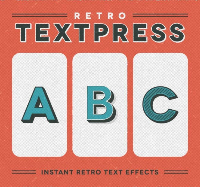 md13 650x609 Retro Textpress: 20 Retro Text Effects for Illustrator   only $7!