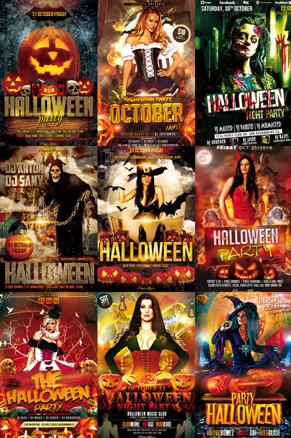 preview 9 Free and Premium Halloween Flyer Templates in PSD from Elegantflyer