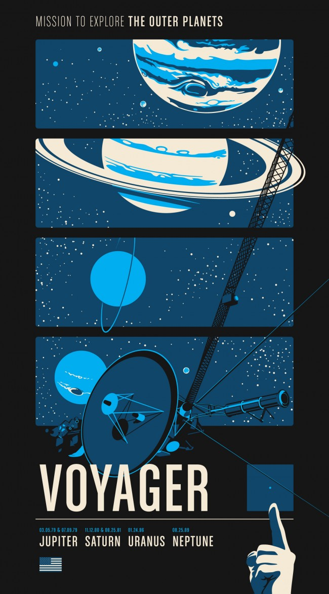 voyager 10f1 650x1173 Historic Robotic Spacecraft Poster Series