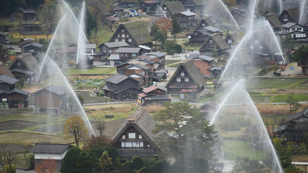 1151 World Heritage Gassho Zukuri Farmhouses Hold Water Discharge Exercise