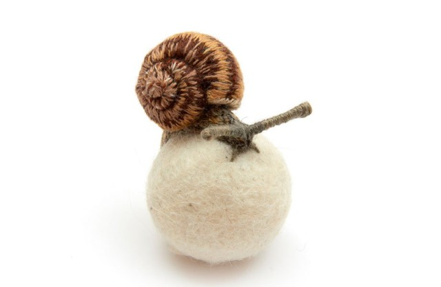 1370971144 1 640x416 Embroidered 3D Snails and Insects by Claire Moynihan