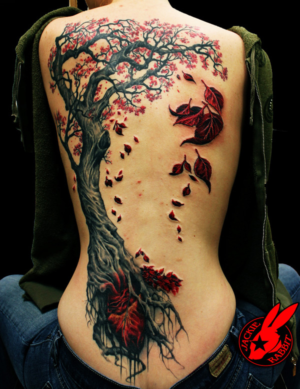 6 Fall Tree Tattoo by Jackie Rabbit 1 40 Unforgettable Fall Tattoos
