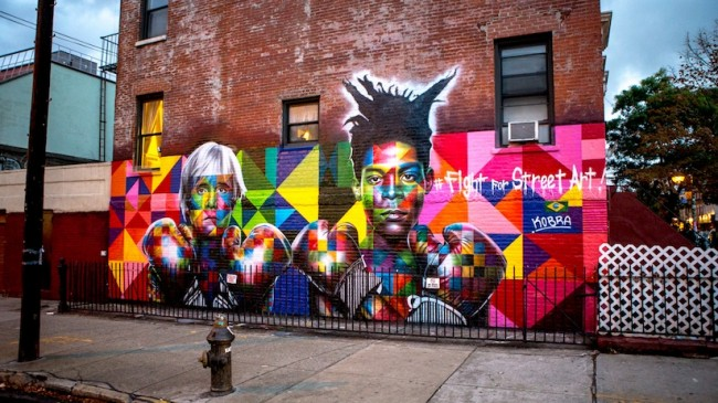 Colorful Mural of Basquiat and Andy Warhol by Eduardo Kobra in Brooklyn NYC 2014 01 650x365 New Colorful Mural of Basquiat and Andy Warhol by Eduardo Kobra in Brooklyn // NYC