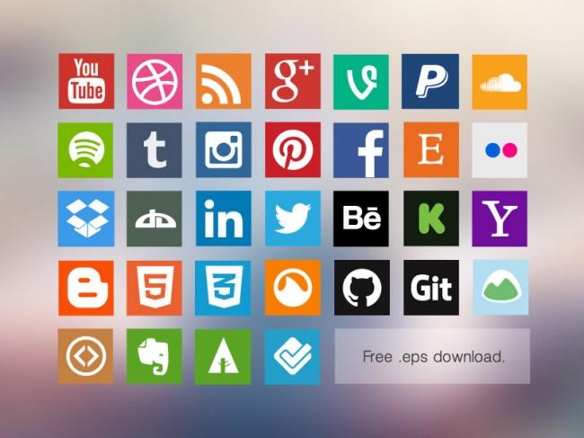 http://designyoutrust.com/2014/11/30-free-flat-social-media-icon-sets-for-designer/