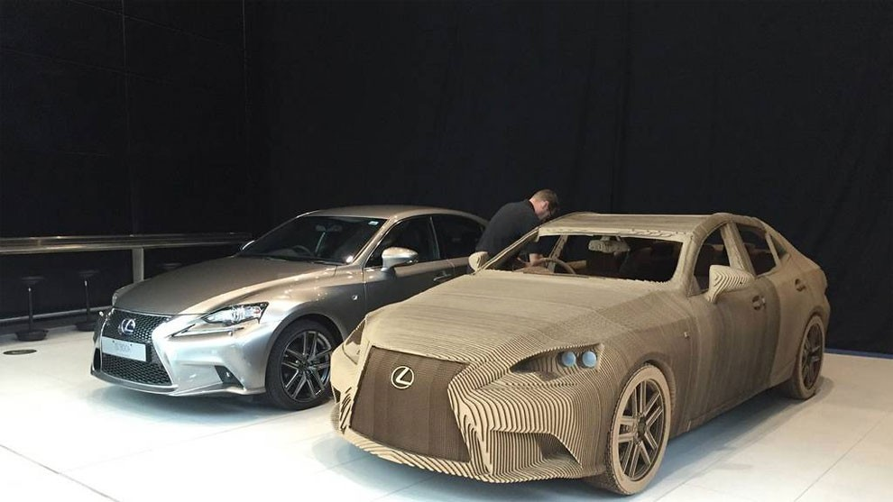 Comprised Of Some 1700 Individually Shaped Pieces Cardboard This Origami Inspired Car Is A Faithful Replica The Lexus IS Saloon And Produced As