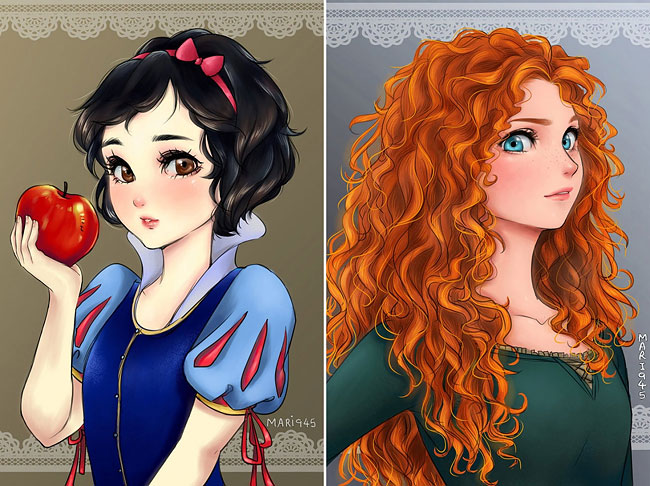 this is what disney princesses would look like if they were anime