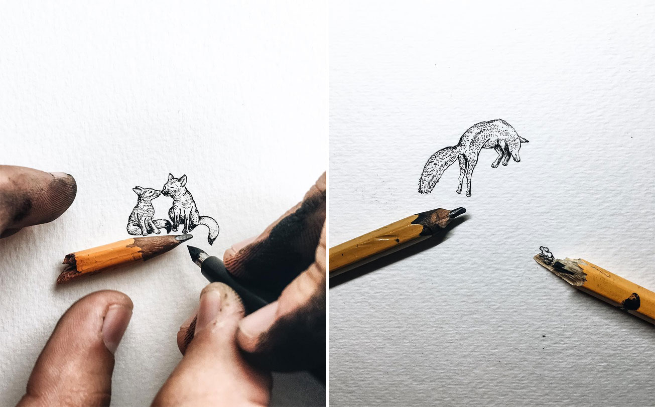 Miniature ink drawings by christian watson
